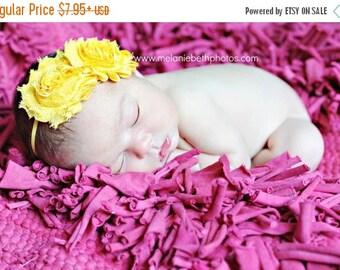 Yellow Flower Headband, Yellow Chiffon Rosettes Duo Yellow Headband or Hair Clip, Newborn Infant Baby Toddler Child Girls Headband