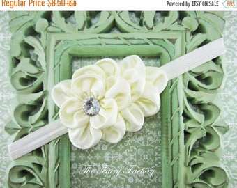Ivory Flower Headband, Ivory Satin Flower Puff w/ Crystal Headband or Hair Clip, Baptism, Wedding - The Olivia - Baby Child Girls Headband