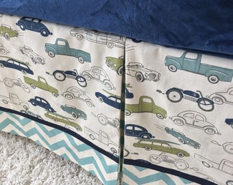 Crib Skirt, Cars Crib Skirt, Tailored Crib Skirt, Navy Crib Skirt, Baby Bed Skirt, Chevron Crib Skirt, Boy Crib Skirt