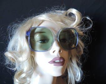 vintage blue sunglasses 70s oversize boho sunglasses retro eyewear new old stock