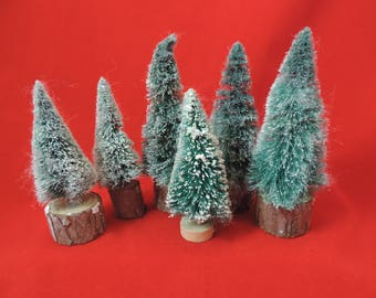 vintage bottle brush christmas tree collection six flocked miniature trees