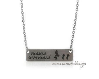 Mama Mermaid Bar Necklace Mama Necklace Gifts for Mom Gifts Valentine's Day Gift For Wife Gift Jewelry Wife Mother's Day Birthday