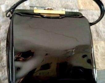 1950s-60 Patent Leather Boxy Kelly Bag Shiny Black