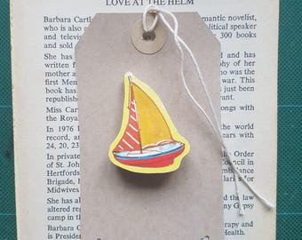 OOAK Sail Boat Brooch - Dinner Table Place Setting - Yachting - Boating - Vintage Jigsaw Pin - Childish Fun Jewelry - Lapel Pin - Eco Gift
