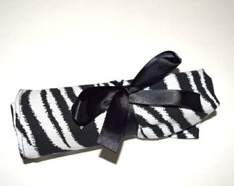 ON SALE Large Crochet Hook Holder - Zebra Stripes 1 Black and White