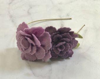 Purple and Dusty Rose Headband // Adjustable Metal or Elastic Band//Women and Girls//Romantic Bridesmaid Wedding Hairpiece//Custom Option