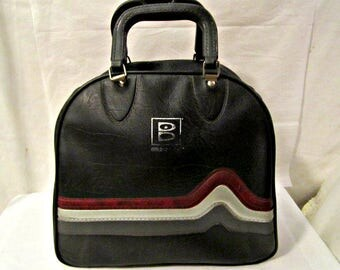 Bowling Ball Bag, Black Bowling Ball Bag, Tool Bag, Bowling Ball Purse, Retro Baggage