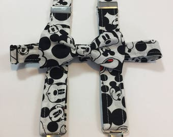 Mickey Mouse Matching Bow Tie and Suspender Set for Toddler to 6-7 yr old