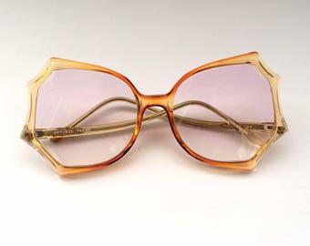 80s Vintage Spider Web Shape Clear Orange NOS Sunglasses