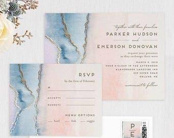 Agate wedding invitation suite