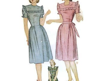1940s Dress with Puff Sleeves and Ruffle Trim Pattern Simplicity 1553 B32 sz 14