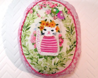 Pincushion- Here Kitty Kitty Pincushion, hand made with hand embroidery and emery-  Made to Order