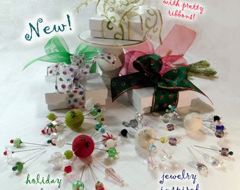 NEW! Stick With Me Assorted Pins, 10 Pretty Pins for Pretty Pincushions- Holiday and Jewelry Inspired Assortments