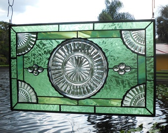 Stained Glass Panel, Vintage Stained Glass Transom Window, Antique Window Valance with 1930s Depression Glass Plate,  Pillar Optic Panels