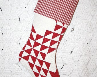 Red Antique Quilt Stocking | Stunning Red and Cream Ocean Waves Antique Quilt Stocking with Antique Homespun Cuff - Beautiful Quilting