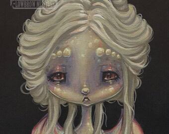 Fairy DRAGON opal girl lowbrow gothic fantasy art print big eye pop surreal - Fairy 14