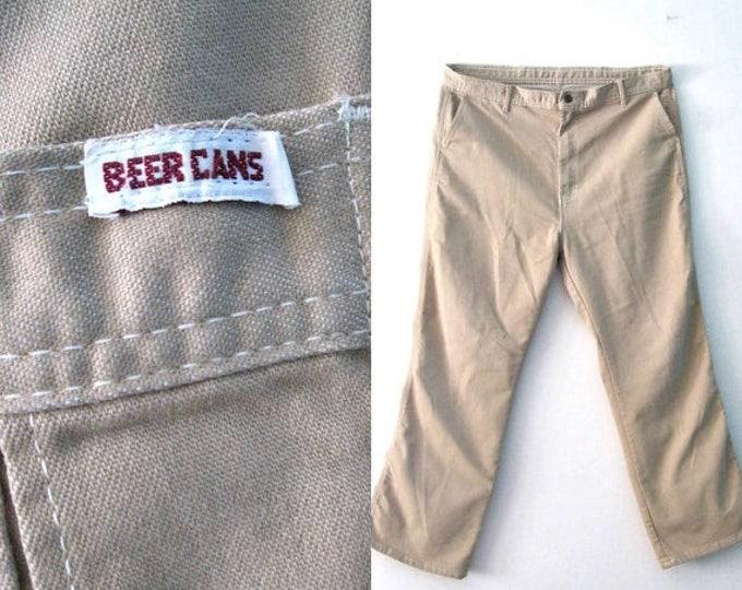 WINTER SALE Vintage 70s Mens Khaki pants / Beer Cans Hipster tan brown pants / Boho Hippie 70s Mens jeans pants / 40 x 30