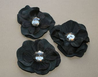 3 Black Silk Hydrangea Flowers - Embellished with Ocher Crystal - Artificial Flowers, Silk Blossoms