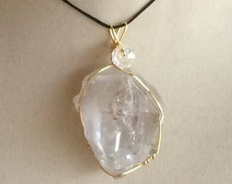 Wire Wrapped Large Herkimer Diamond Pendant