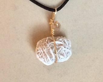 Selenite Desert Rose Wire-wrapped Pendant