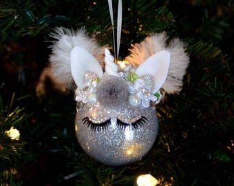 Personalized Christmas Ornament, Unicorn Ornament, Glitter, Eyelash, Stocking Stuffer, Babies First Christmas, Gifts for Her, Gifts for Girl