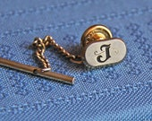 Sweet, vintage monogram Tie Tack by Hickok - adorned with a fancy letter J - in very good condition