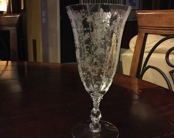 Vintage Cambridge Rose Point Iced Tea Glass Goblet 7.5""