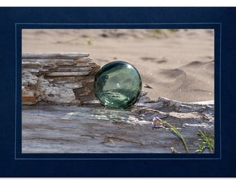 Beach Cards - Japanese Fishing Float Cards - Fishing Float on Driftwood - Sea Glass Floats Cards - Beach Cards Glass Floats