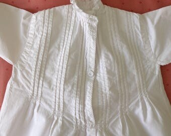 Antique 19th Century Doll's or Baby's Victorian Nightgown - Handsewn - Needs some Repair- White Cotton