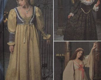 Maiden Gown Costume Sewing Pattern UNCUT Simplicity 8192 Sizes 10-14 renaissance reenactment