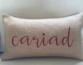 Welsh Cariad Love heart burlap (hessian) pillow cushion cover