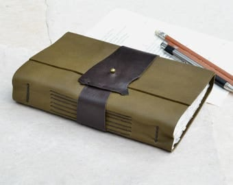 Rustic Green Leather Journal with Strap