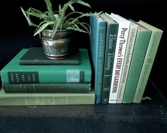 Gardening Flower Book Set - Vintage Instant Library - Gardener Botany Florist Gift - Cottage Chic Decor - Bookshelf Decor