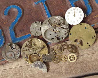 Antique Pocket Watch Parts - Vintage Watch Movements Gears Cogs - Watch Face to repurpose
