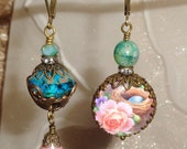 Blue Love birds and nest egg with roses art print image bead asymmetrical earrings Pamelia Designs Sacred Jewelry