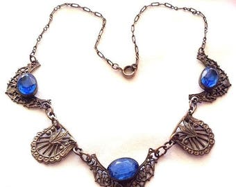 SALE SALE Beautiful Art Deco Saphire Blue Open Back Czech Glass Vintage Necklace