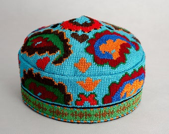 cross stitch embroidered skullcap, hat, cap, blue, Suzani hat
