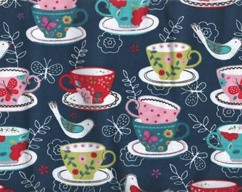 "TEACUPS on black Flannel Fabric , 1 yard x 42"" wide"