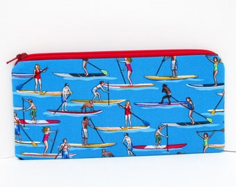 Zippered Pencil Pouch, Stand Up Paddle Boards, Ocean Water Sport Bag
