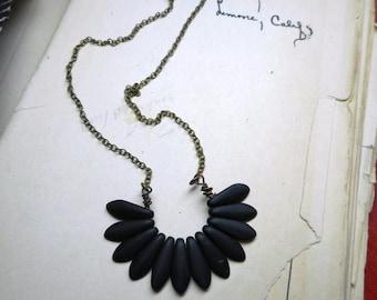 Black Bird. Matte Black Czech Glass Dagger Mini Plumage Tailfeather Goho Gothic necklace