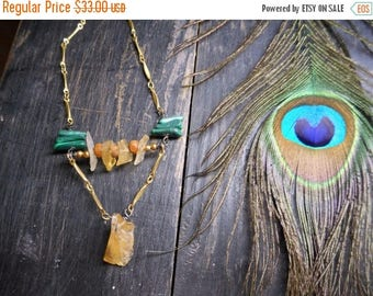 SALE The Rites of Spring Necklace : Daffodil.  Golden Honey Citrine, Malachite Leaves, & Wooden Mala Geometrical Boho Necklace