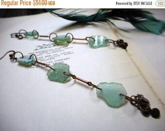 SALE Atlantis. Genuine Seafoam Green Ancient Roman Sea Glass Artifacts & copper Dangle Should Duster Long earrings. ooak.