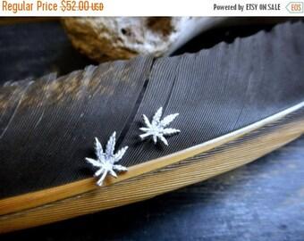 SALE Sterling Silver Pot Leaf (Marijuana Cannabis ) post stud earrings. Hemp . Solid cast silvermsithed earrings
