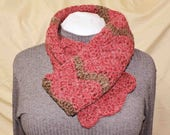 Raspberry and Chocolate Hand Crocheted Scarf of Alpaca