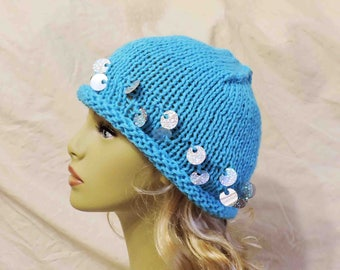 Hand Knit Beanie Turquoise Yarn and Silver Sequin