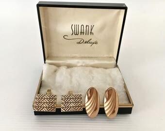 Vintage Swank Cufflinks in Swank Deluxe Hinged Metal Box