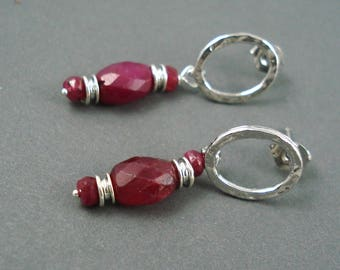 Natural Ruby Earrings with 5MM x 8MM Gemstone OOAK Holiday Jewelry
