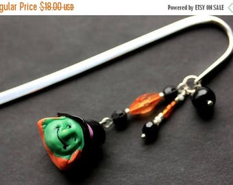 BACK to SCHOOL SALE Halloween Bookmark. Beaded Bookmark. Witch Bookmark. Book Hook Bookmark. Handmade Book Charm.