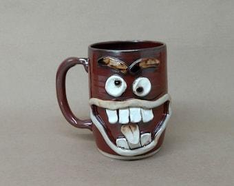 Big Handle Extra Large Red Coffee Cup. Big Over 24 Oz Smiley Face Ug Chug. Ceramic Beer Mug. Unique Man Husband Father Boyfriend Gift