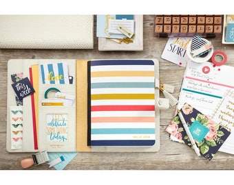 Color Crush Composition Planner Notebook Inserts Striped, Dated 2018 (NP202)
